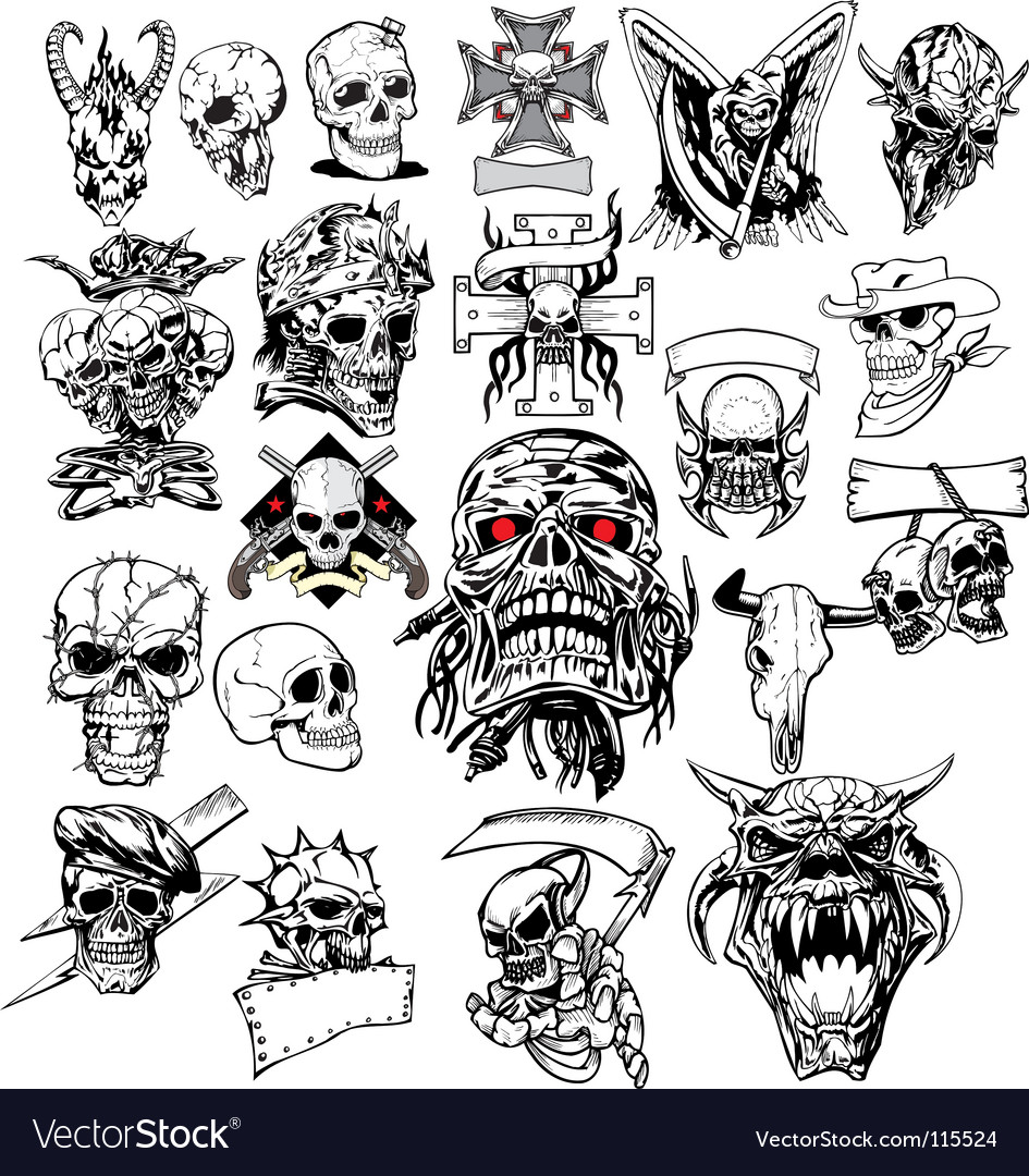Skull tattoo vector