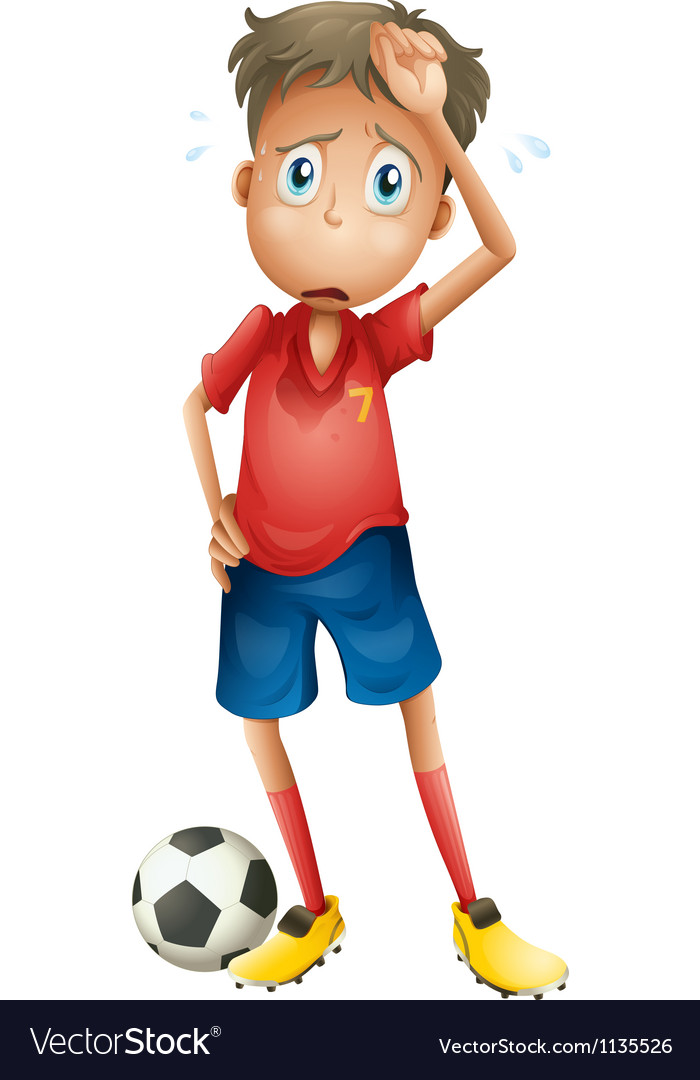 A boy and a football vector