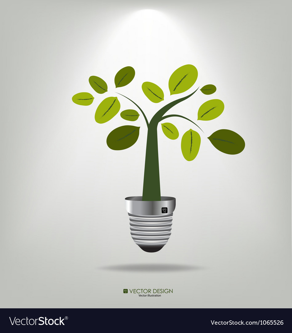 A light bulb with tree vector