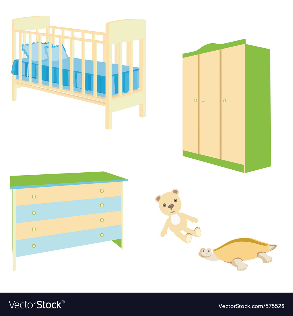 A set of baby furniture bedside table a bed for th vector