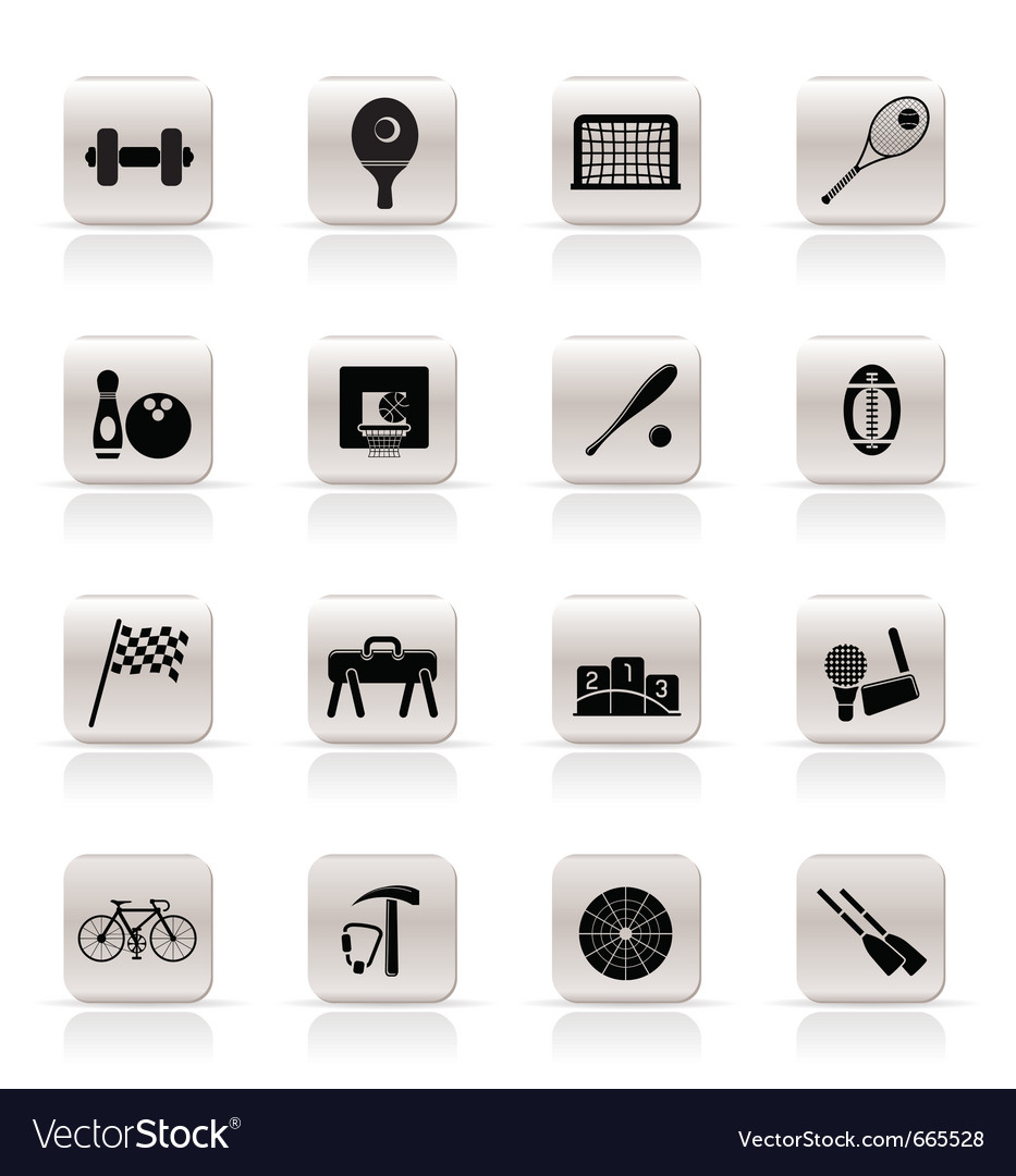 Simple sports gear and tools icons vector
