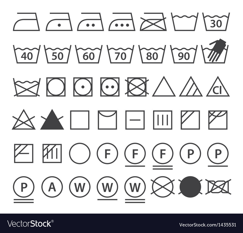 Set of washing symbols vector by nikolae image 1435531