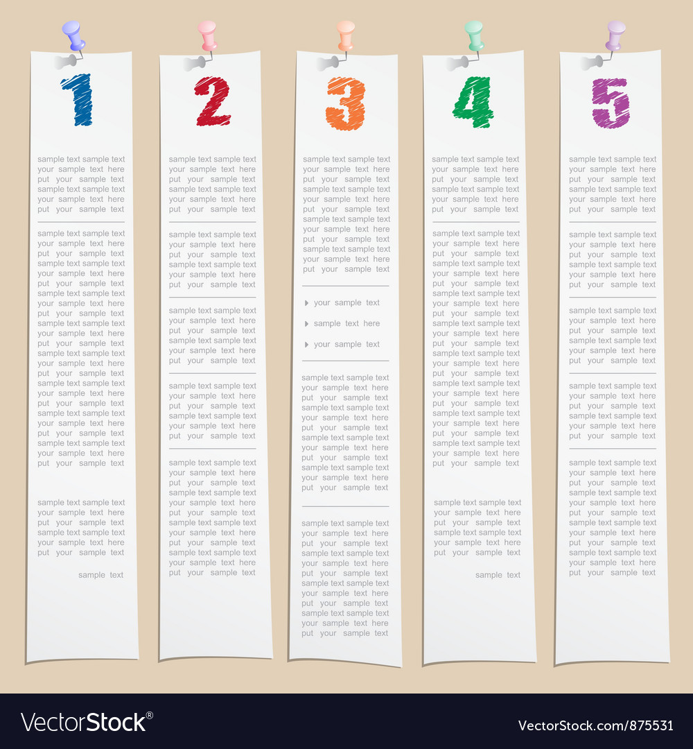 Template with numbers and columns vector