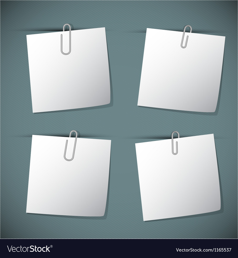 Note papers with paperclip vector