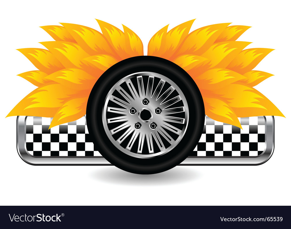 Race tyre on fire vector