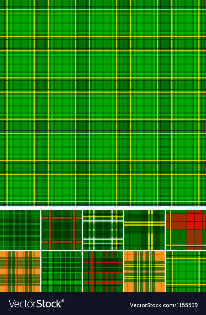 Tartan plaid seamless 10 patterns vector
