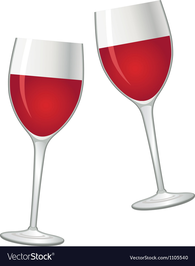 Glasses with red wine vector