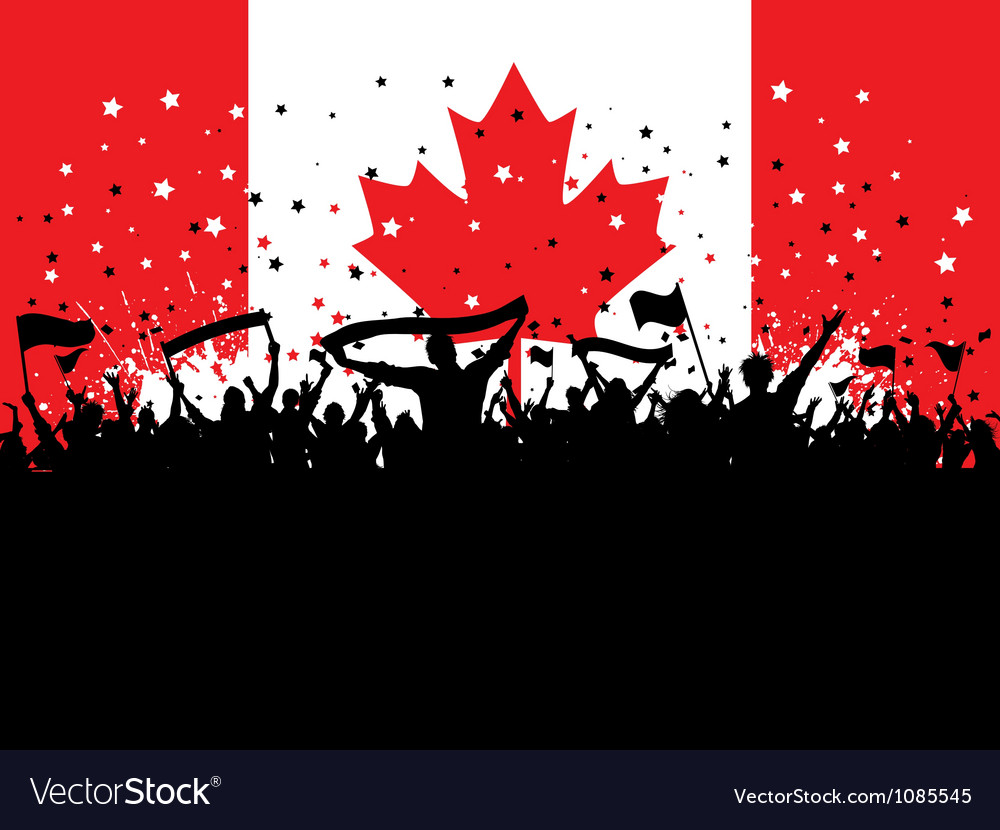 Party crowd on canadian flag 1607 vector