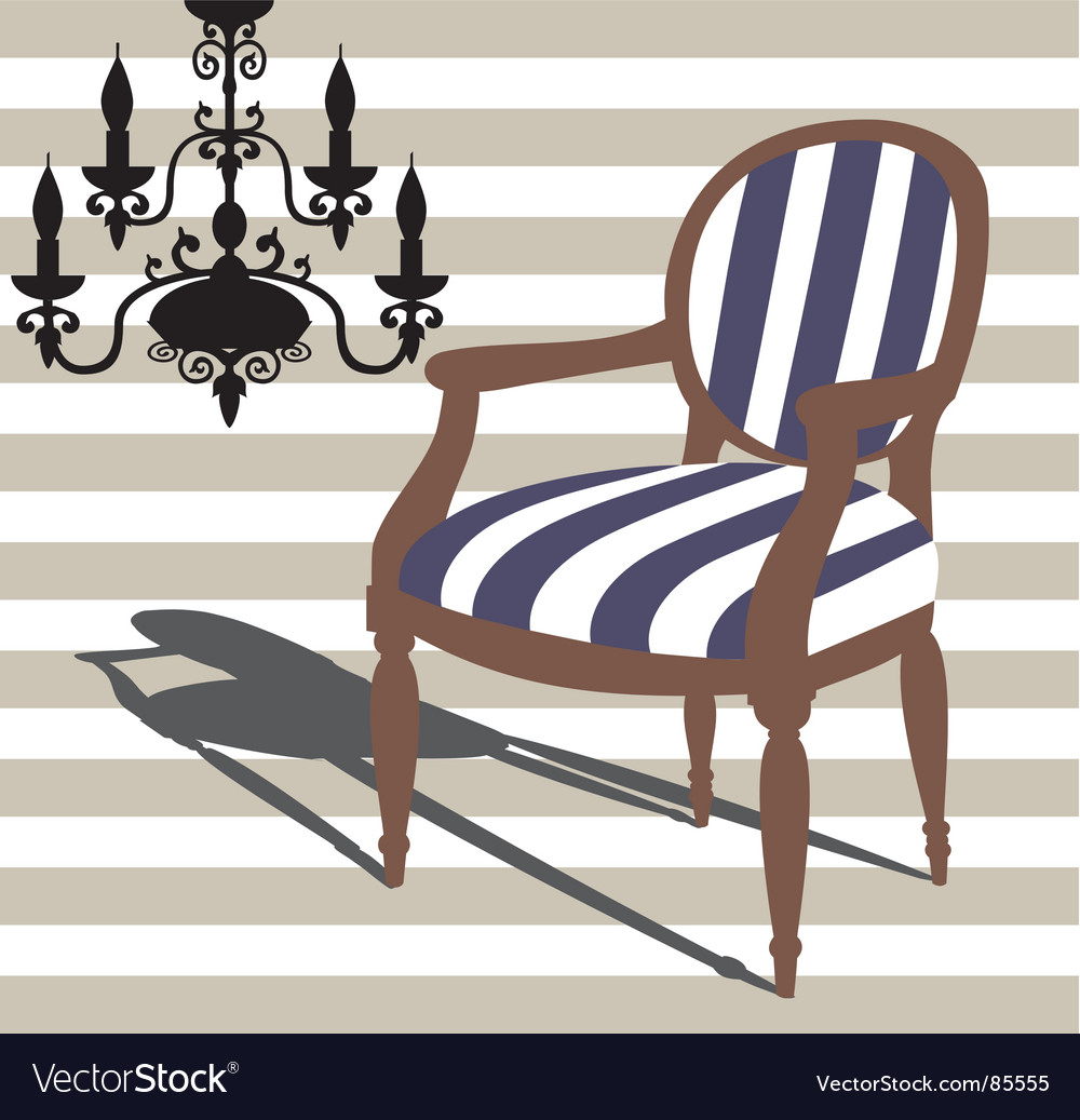 Armchair and chandelier vector