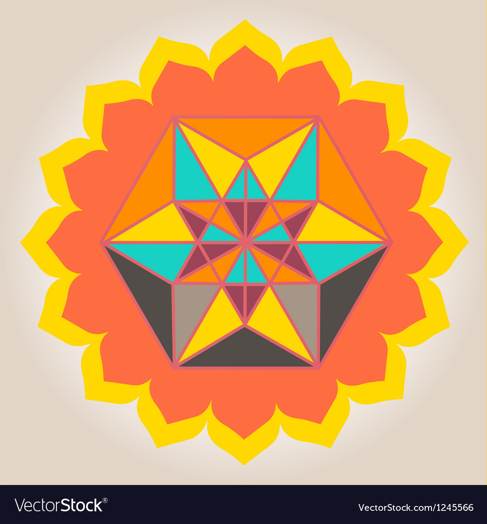 Floral geometrical design vector