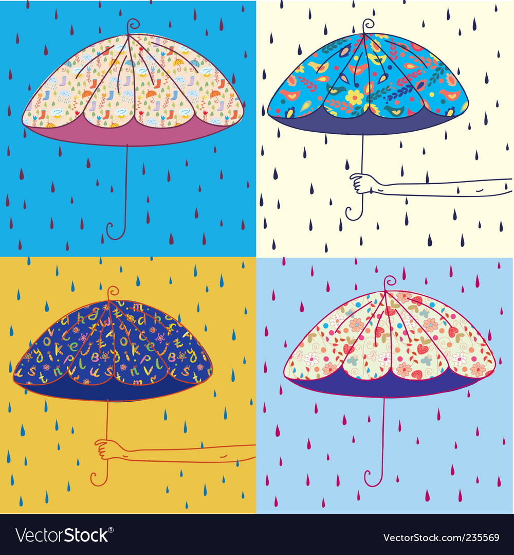Umbrellas set vector