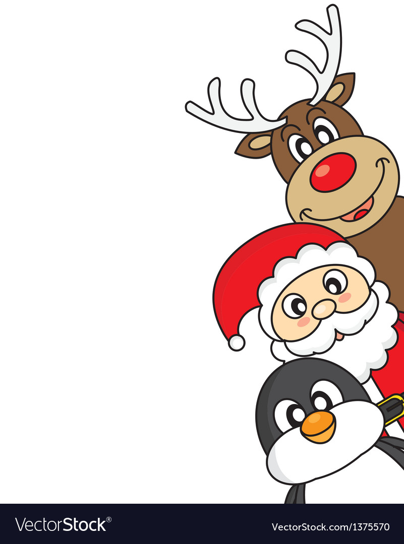 Santa claus reindeer and penguin vector