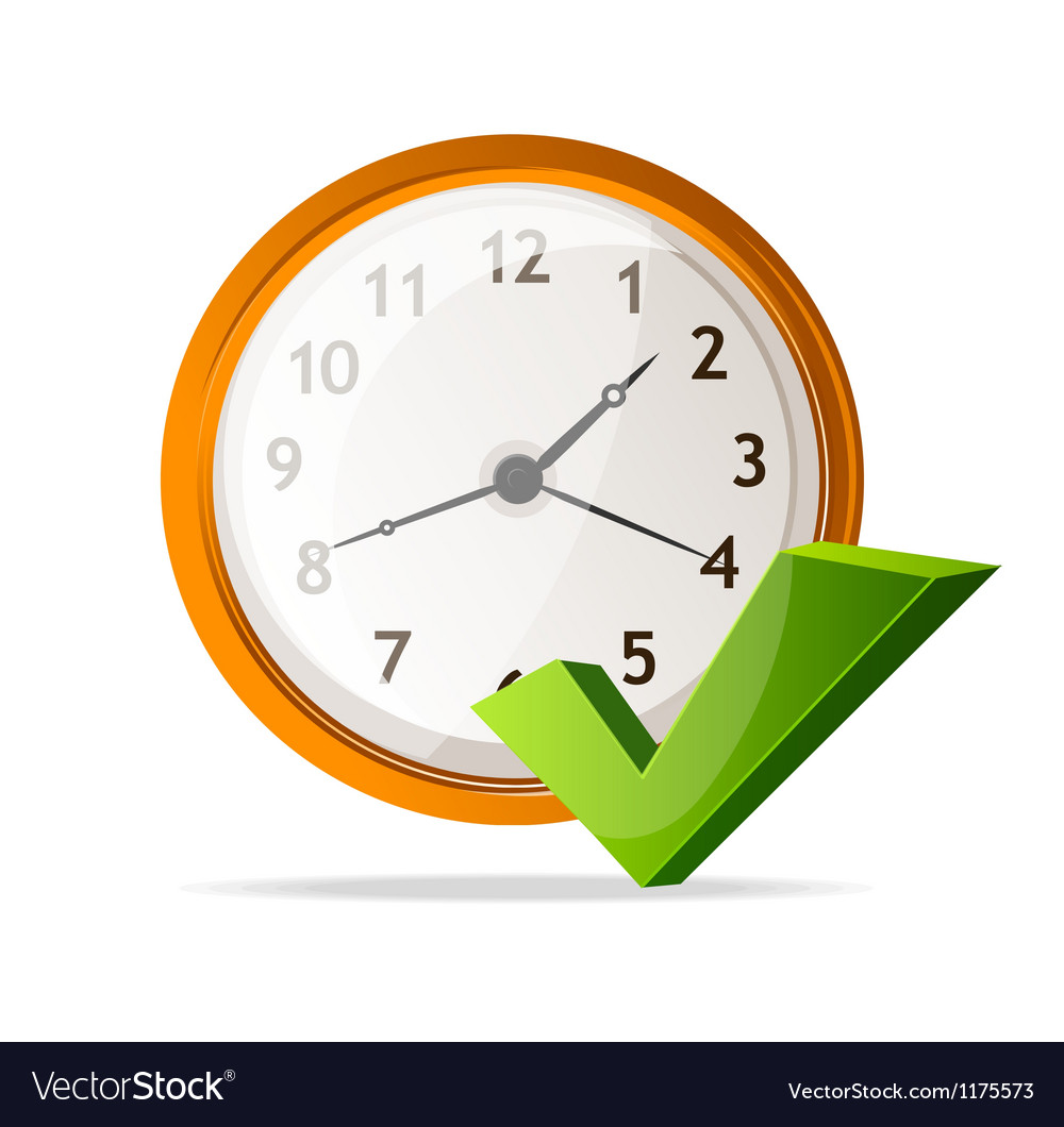 Clock icon and check mark vector