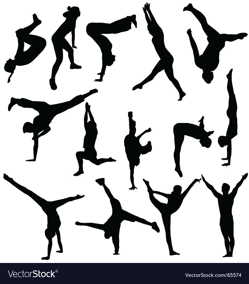 Acrobatic silhouettes vector