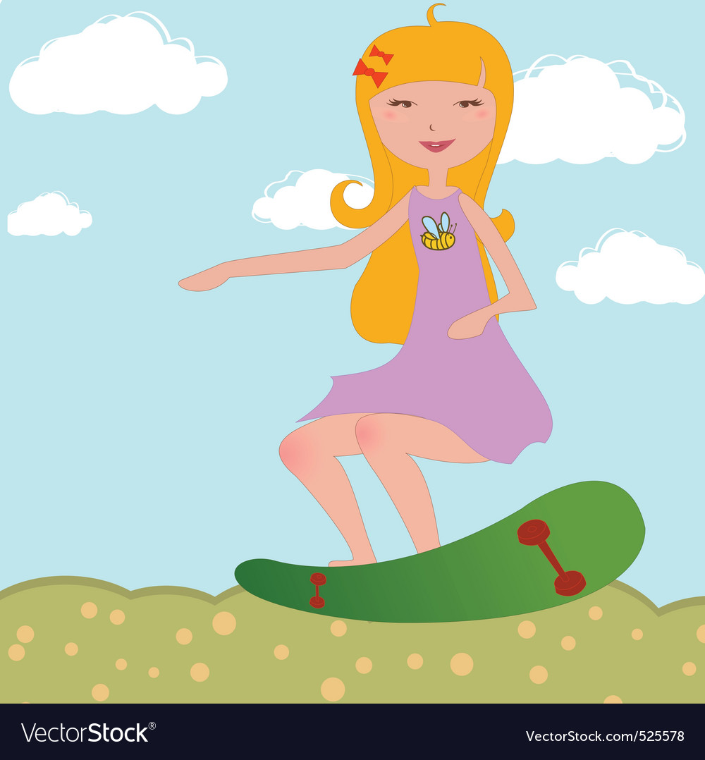 Girl riding skateboard vector
