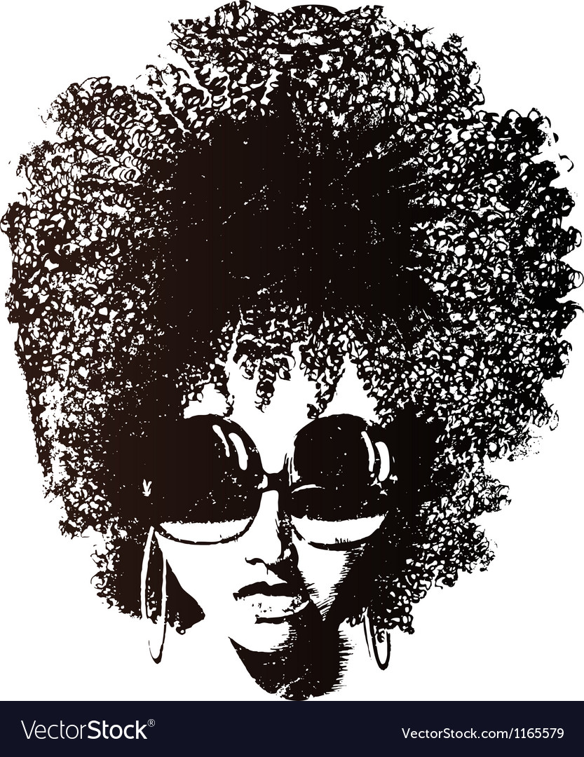 Afro hair retro face vector