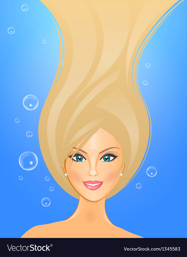 Girl underwater vector