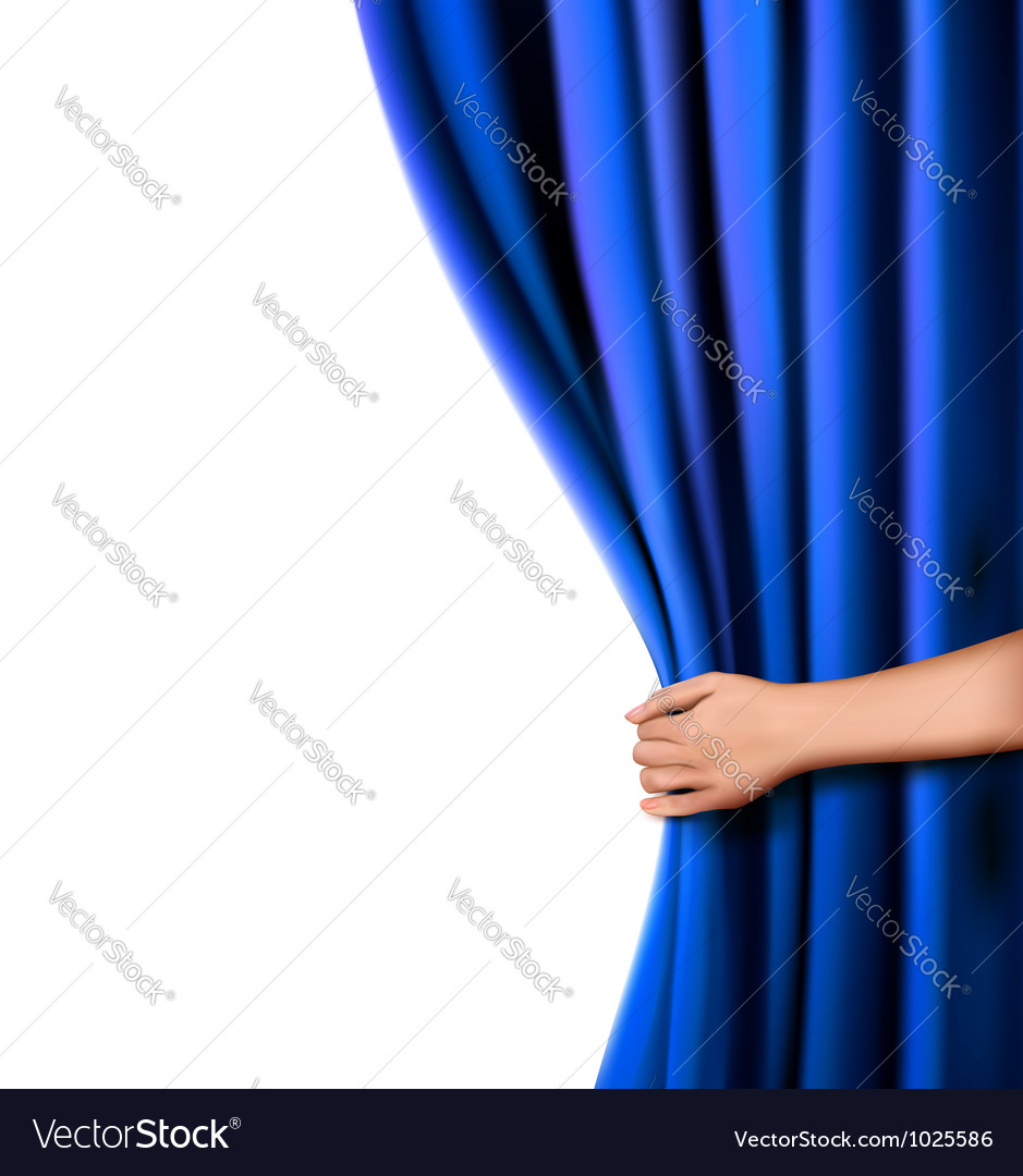 Background with blue velvet curtain and hand vector