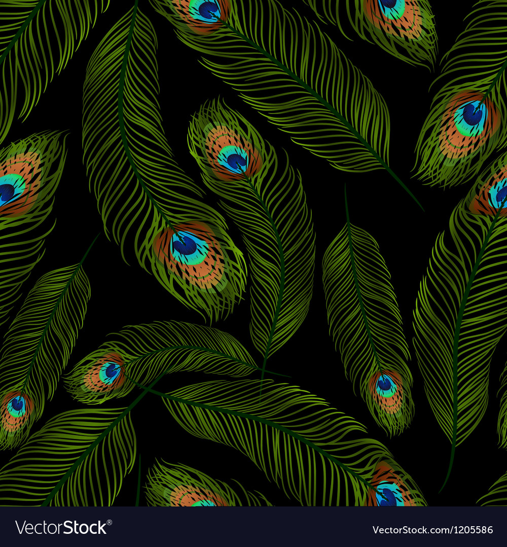Seamless texture with peacock feathers vector