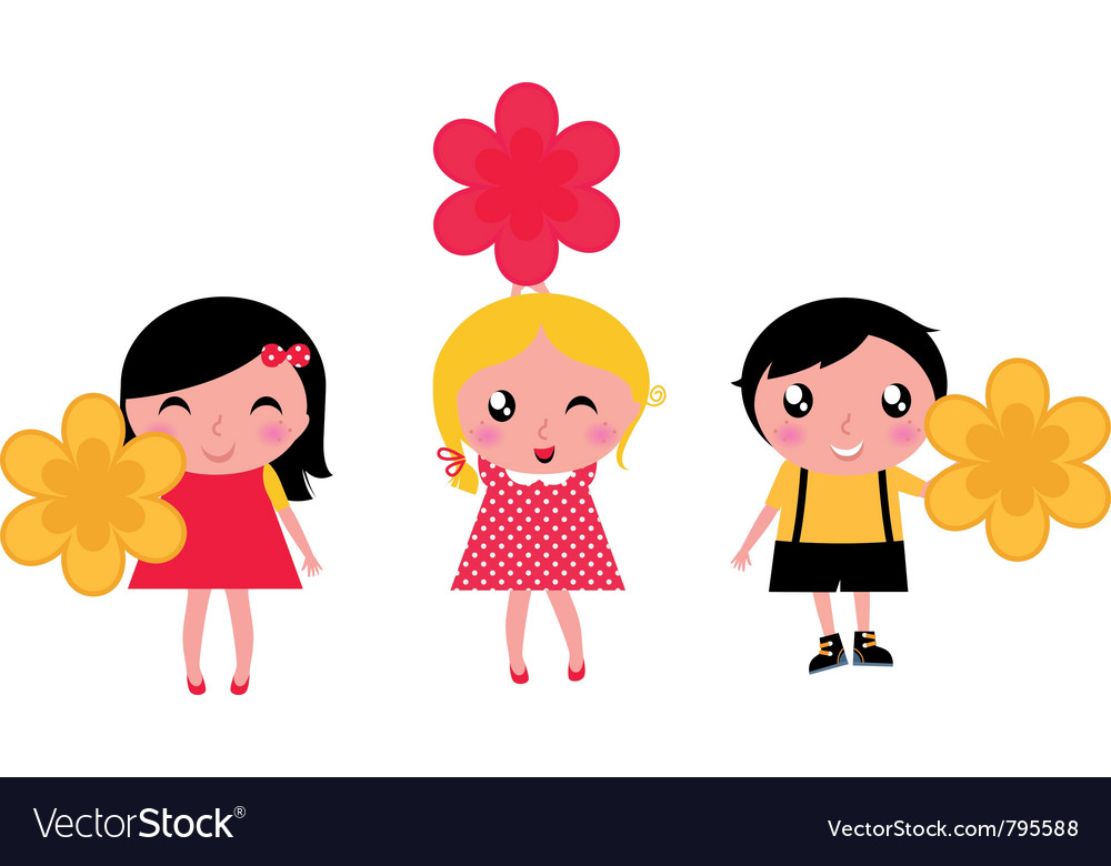 Cute kids with flowers vector