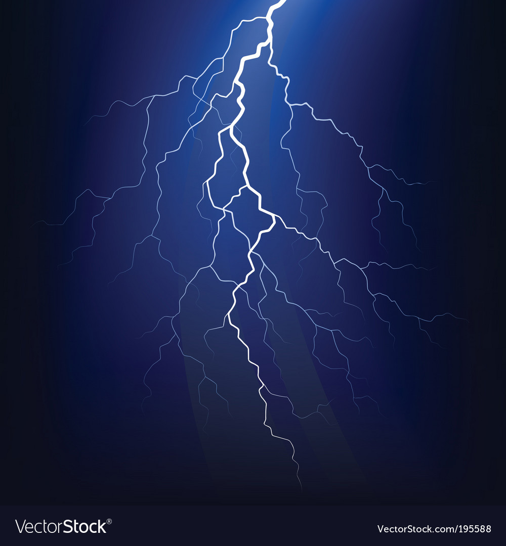 Lightning bolt at night vector