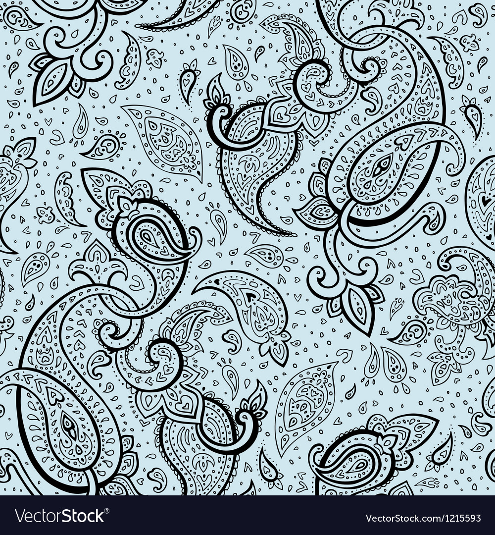 Elegant hand drawn paisley pattern vector