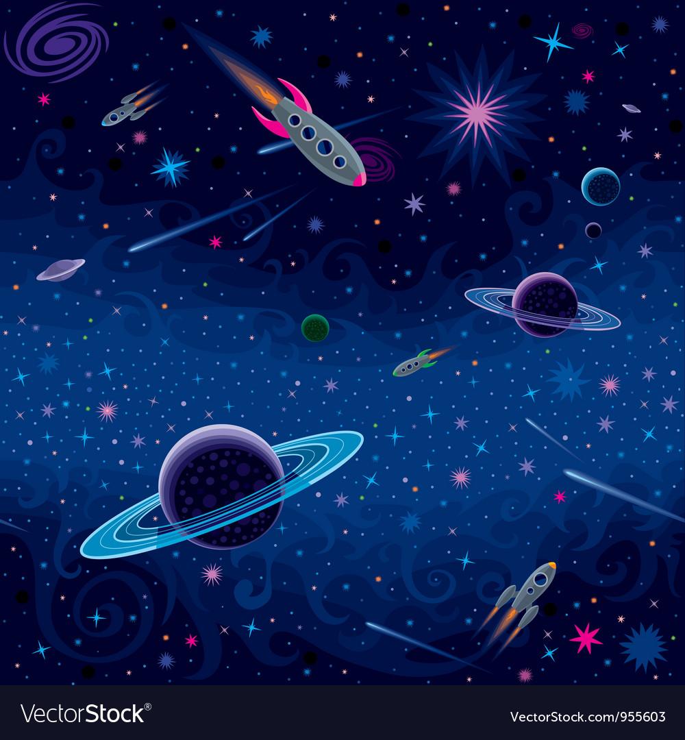 Cosmic seamless pattern vector