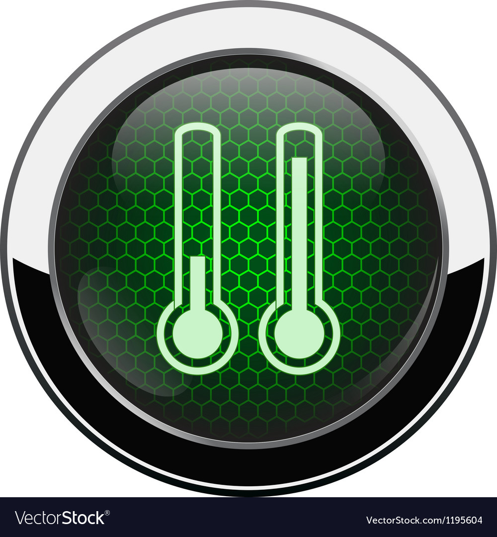 Metallic green honeycomb termometer icon vector