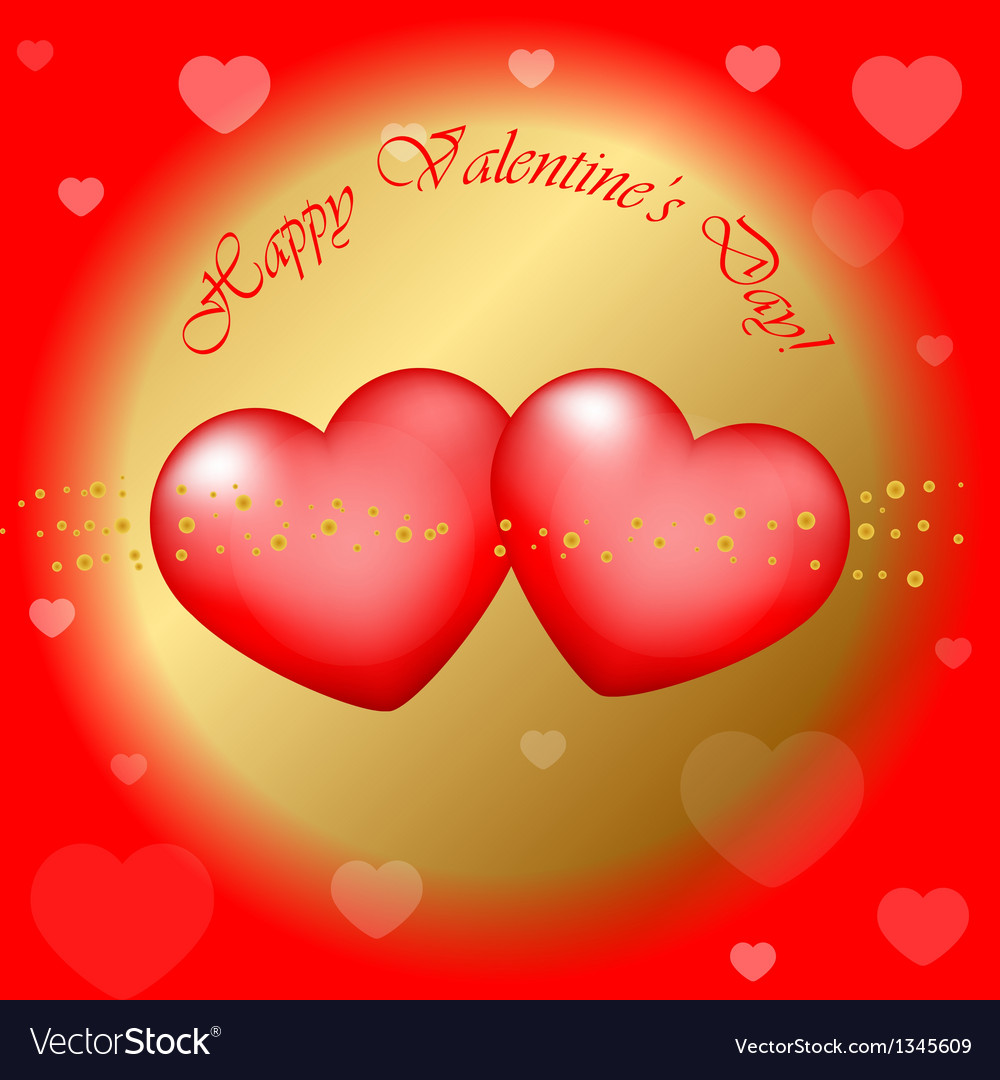 Red and gold happy valentines day background vector