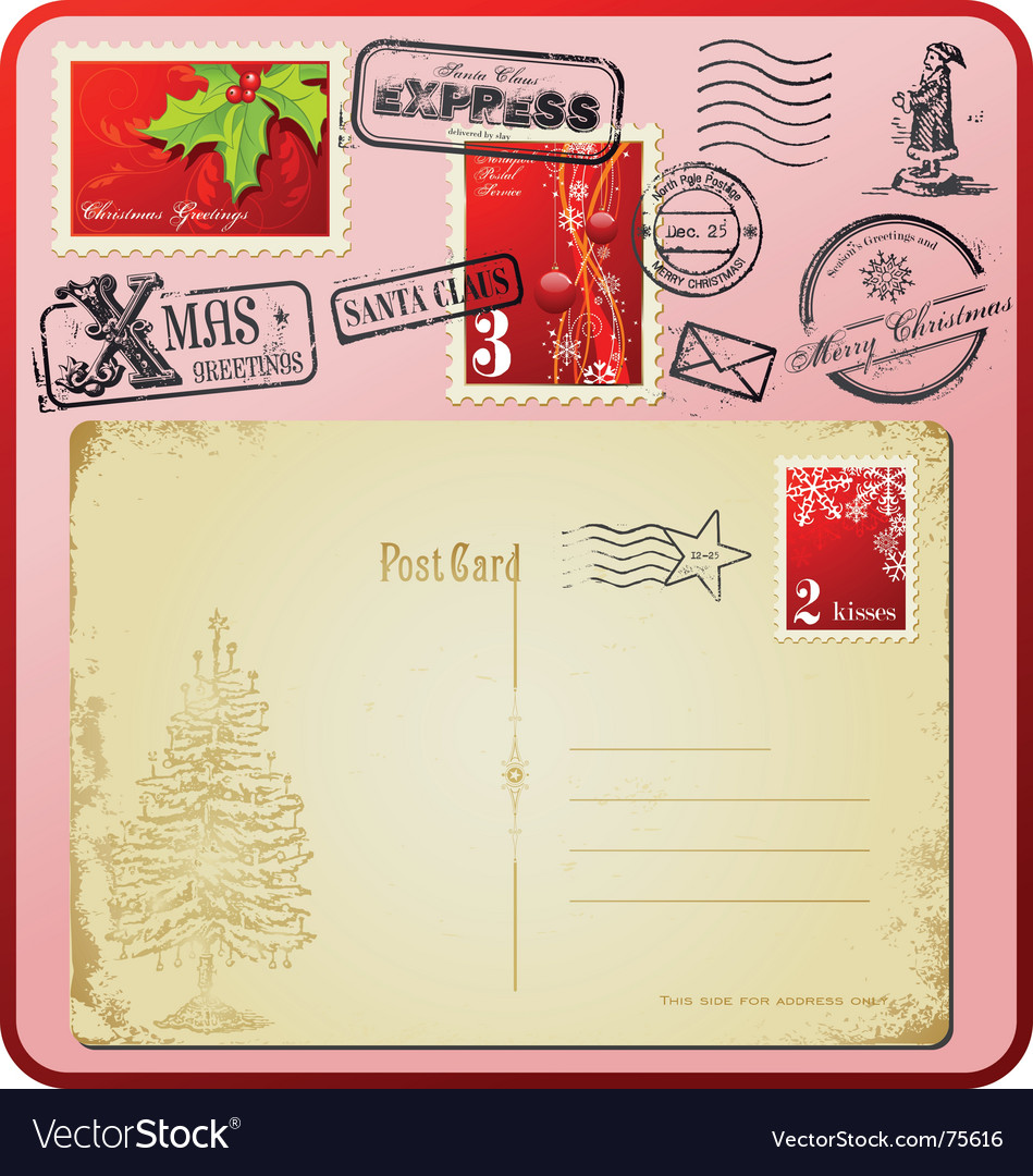 Christmas postage set vector