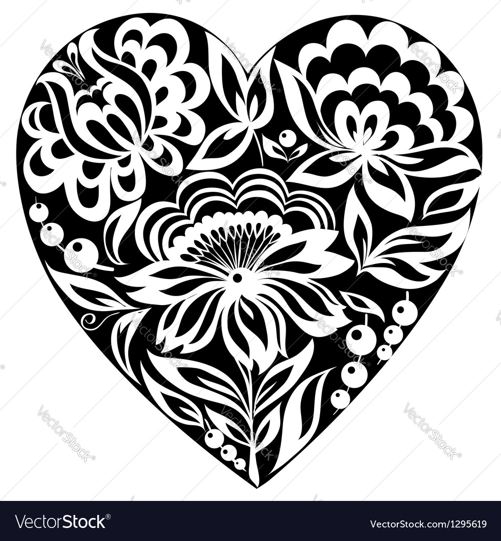 Silhouette of the heart and flowers on it blackan vector