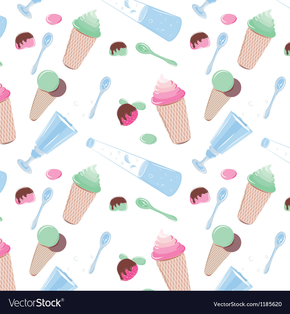 Pattern with sweets candy water and ice cream vector
