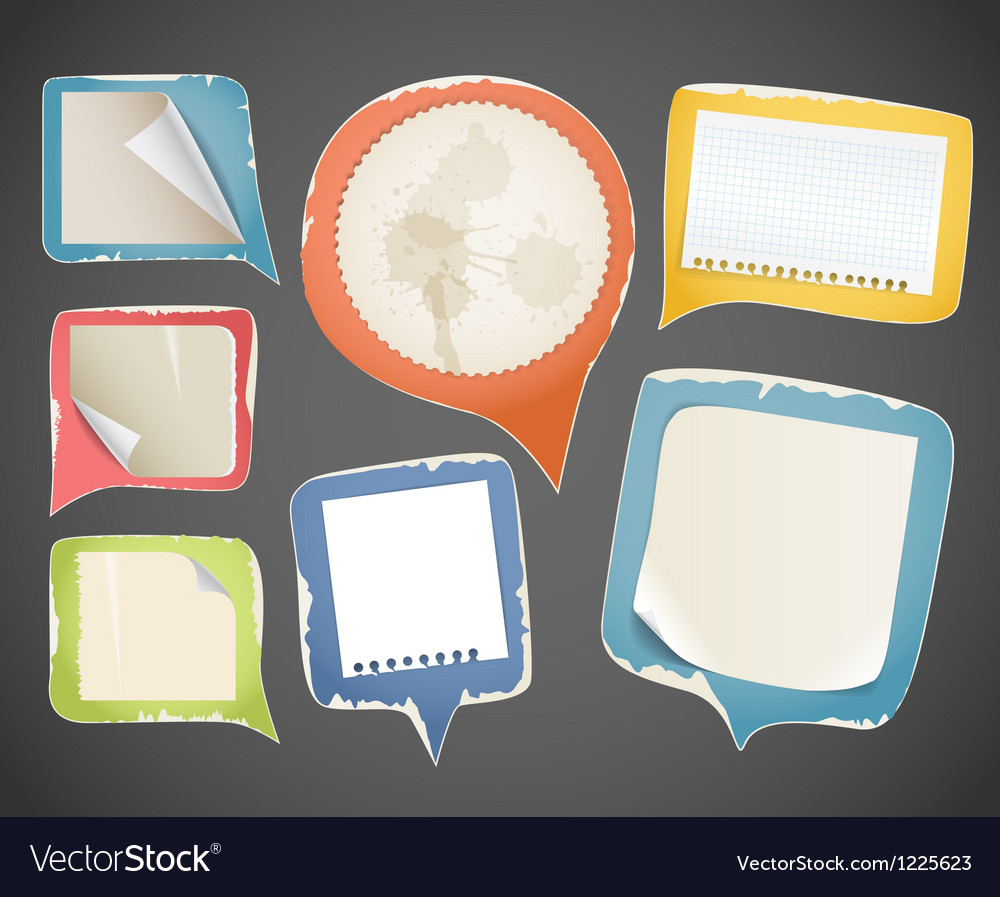 Collectionn of vintage paper speech clouds vector