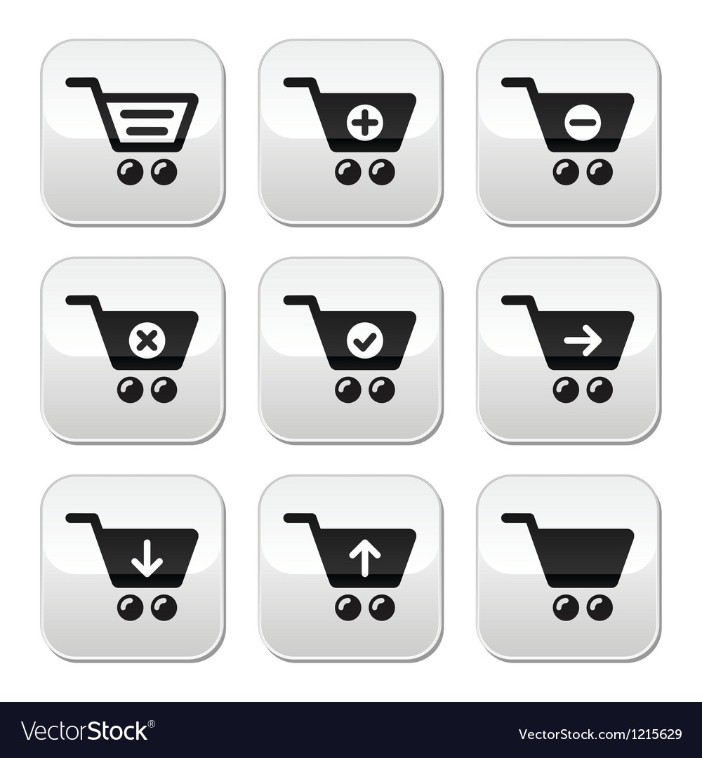 Shopping cart buttons set vector