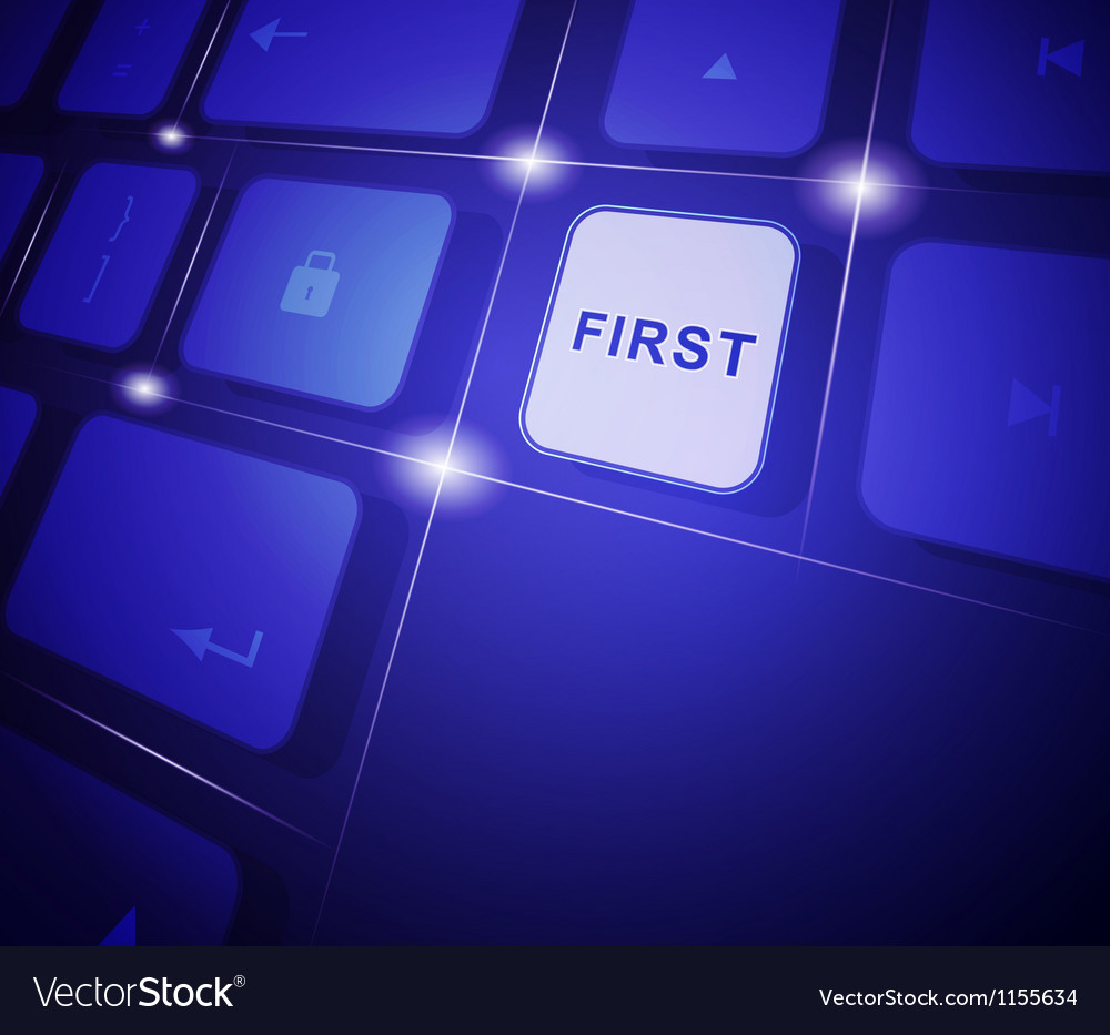 The button first on a virtual keyboard vector
