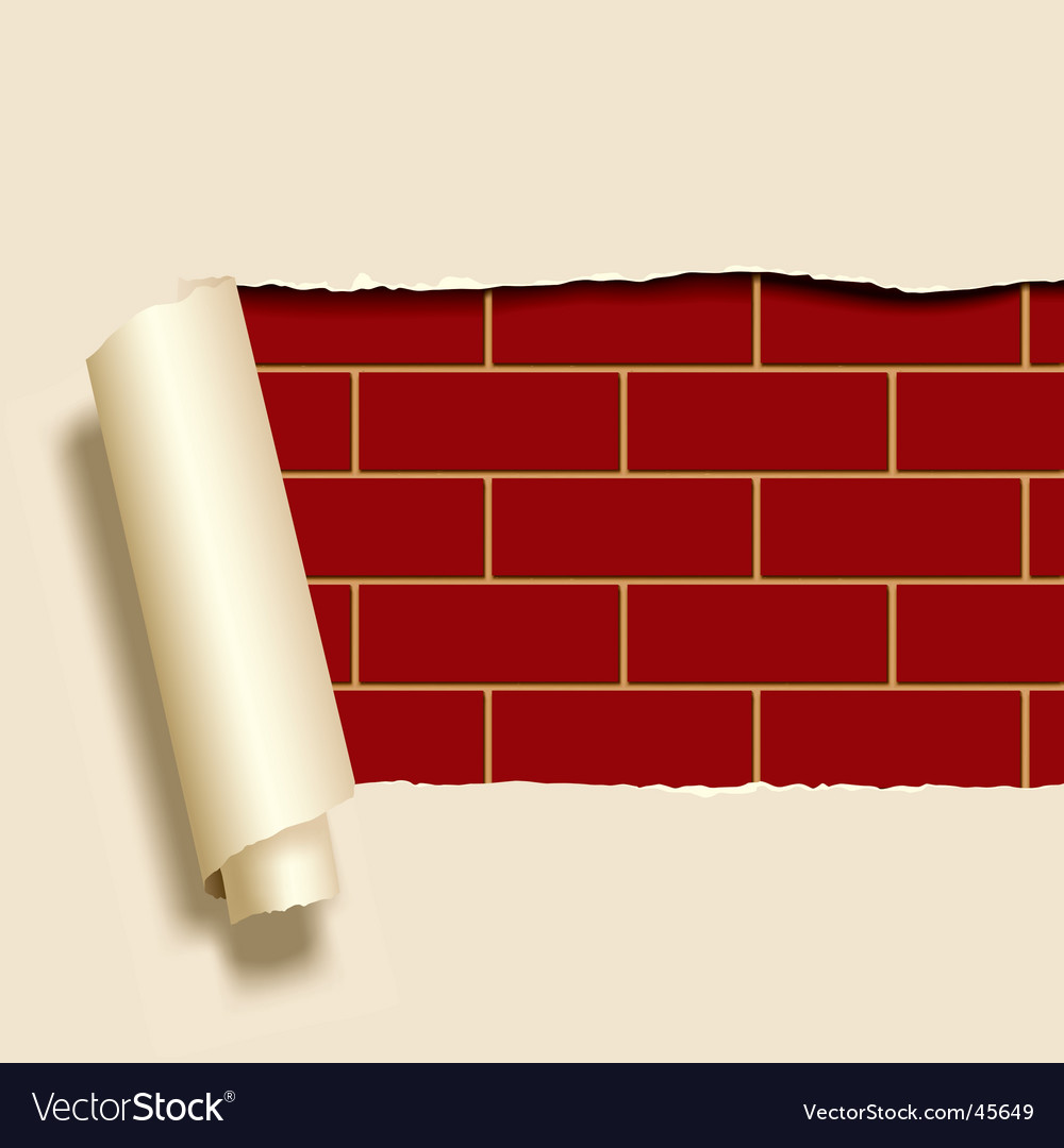 Ripped paper on brick wall vector