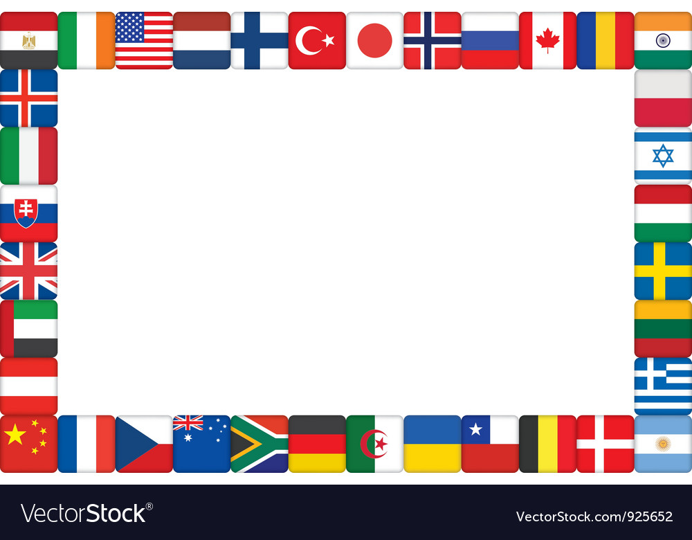 World flag icons frame vector International Flag Borders