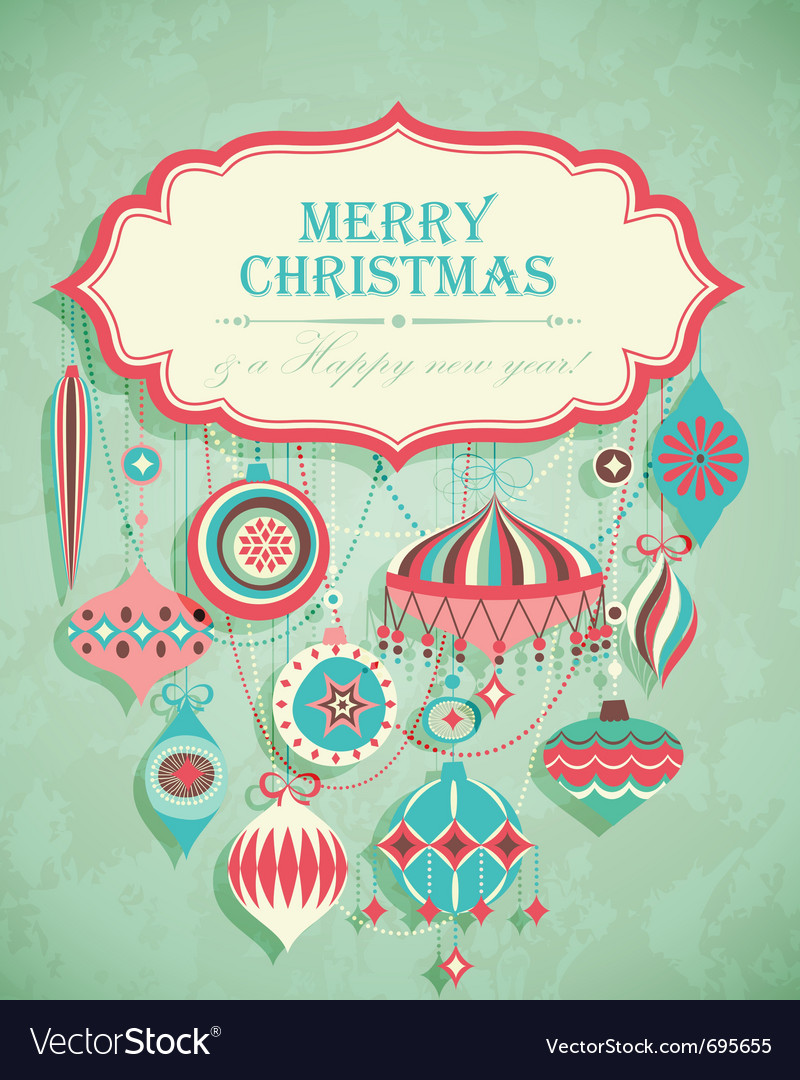 Retro christmas postcard vector