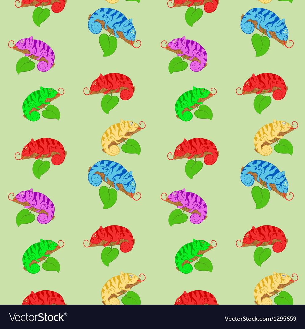 Color chameleons seamless pattern vector