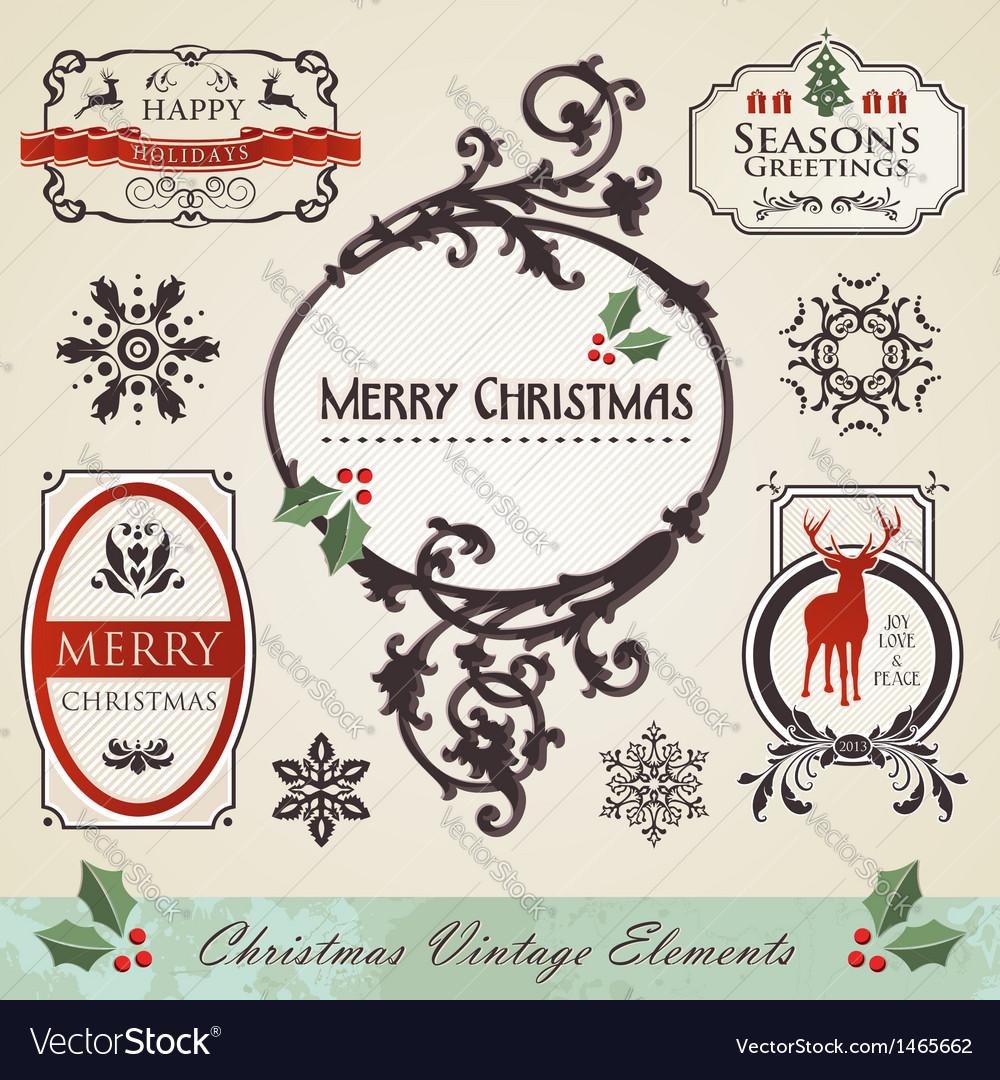 Vintage christmas elements set vector