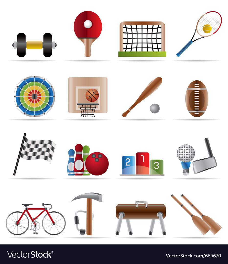 Sports gear and tools vector