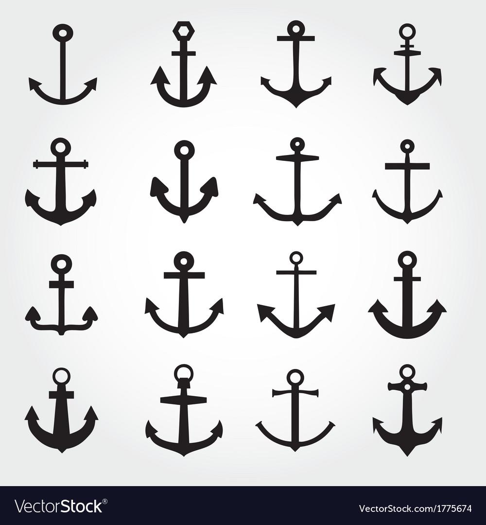 Set of anchor symbols or logo template vector