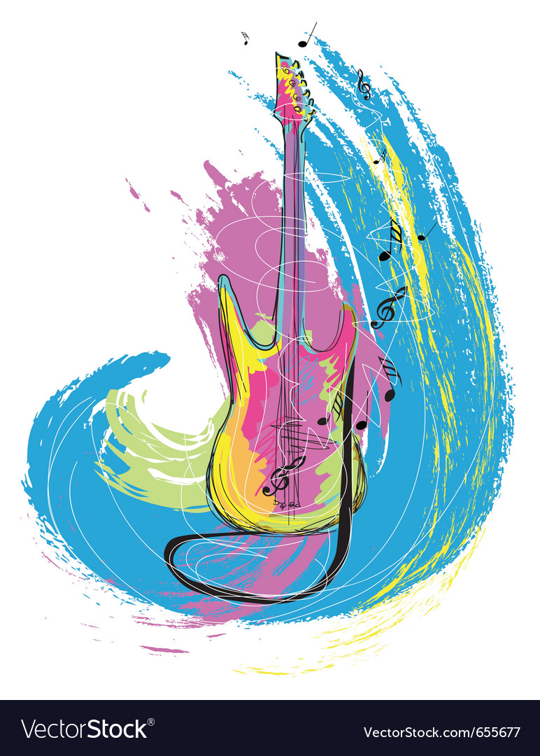 Hand drawn electric guitar vector