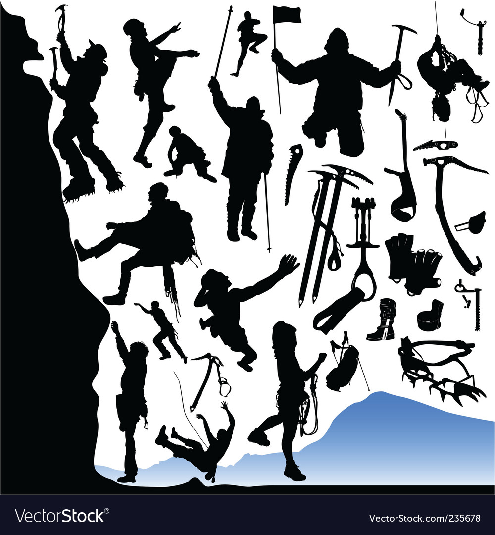 Climber and equipments set vector