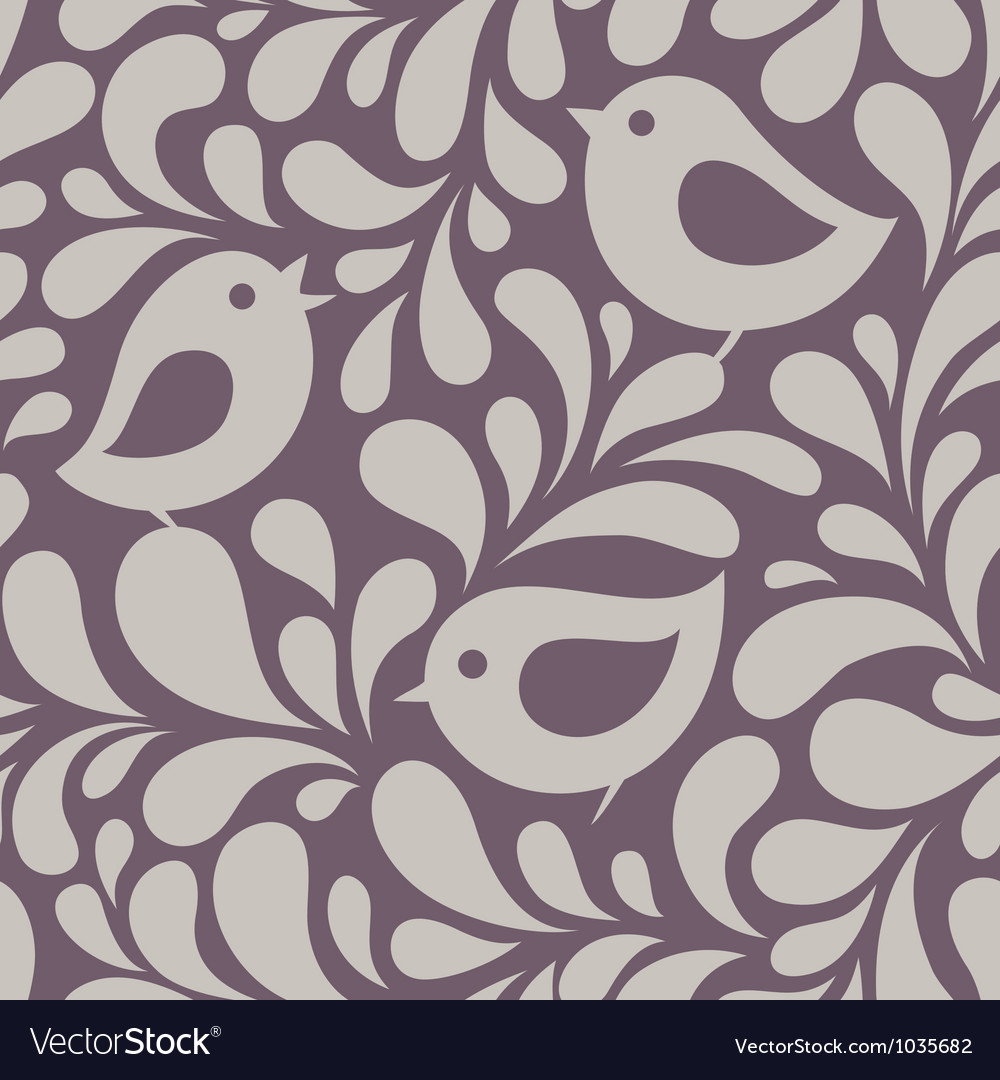 Wallpaper with birds and leaves vector