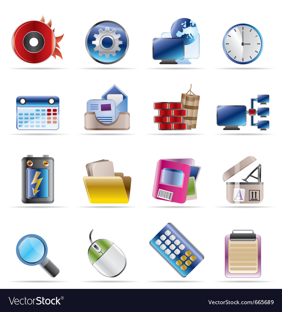 Computer and mobile phone icons vector