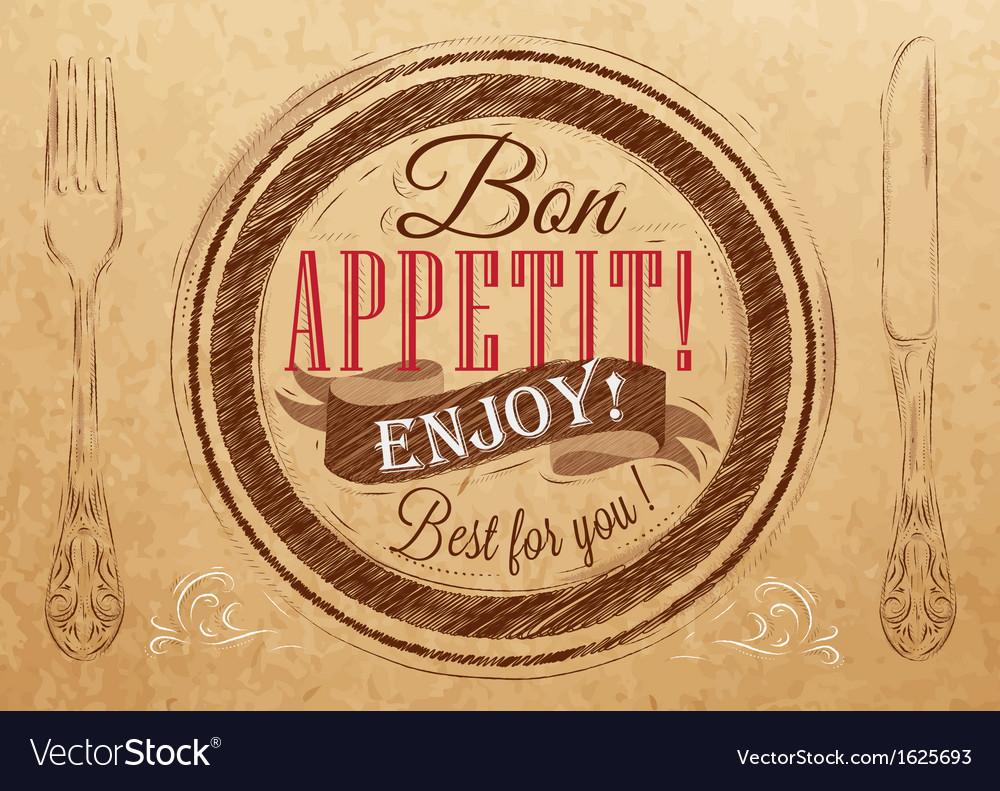 Bon appetit kraft vector