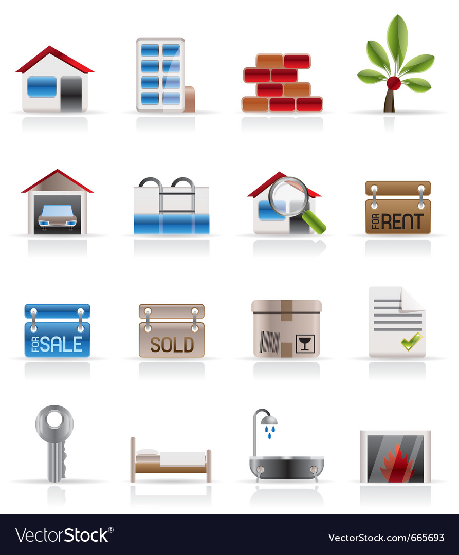 Realistic real estate icons vector