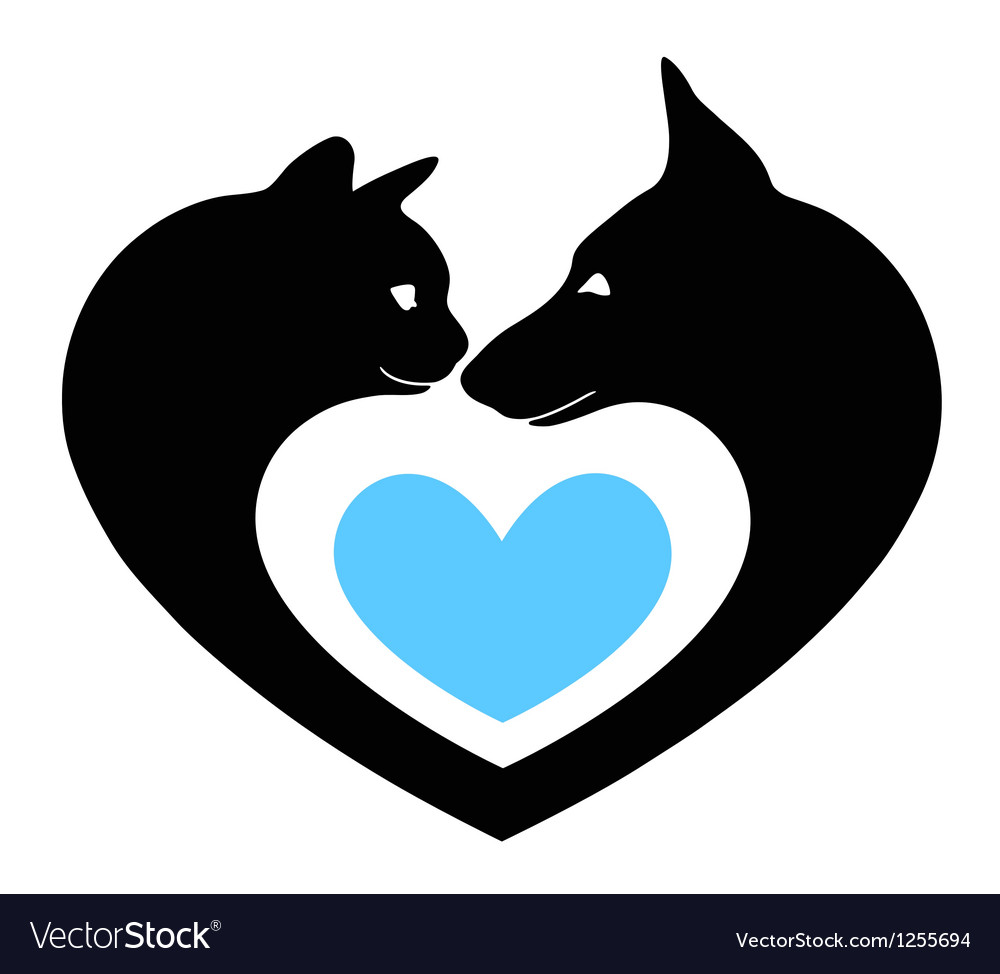 Cat and dog in the heart vector