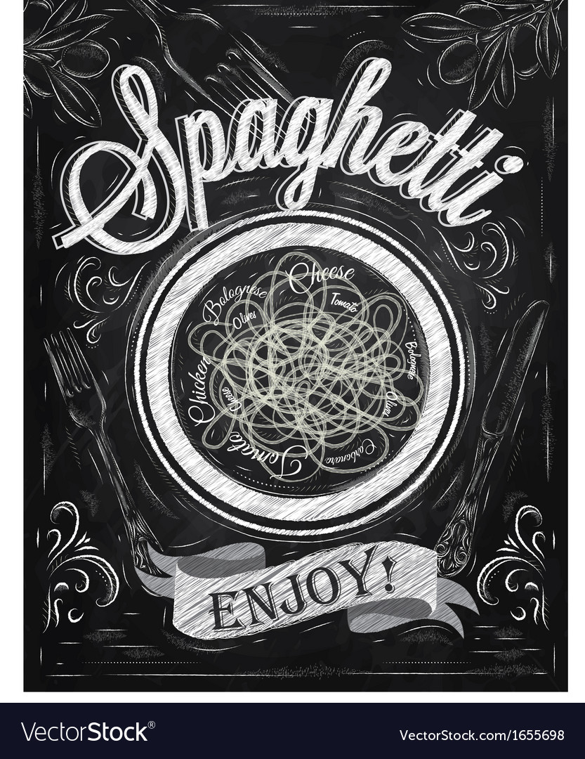 Spaghetti poster chalk vector
